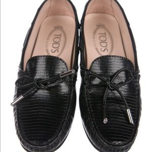 Tod's Black Leather Driving Loafers Size 6